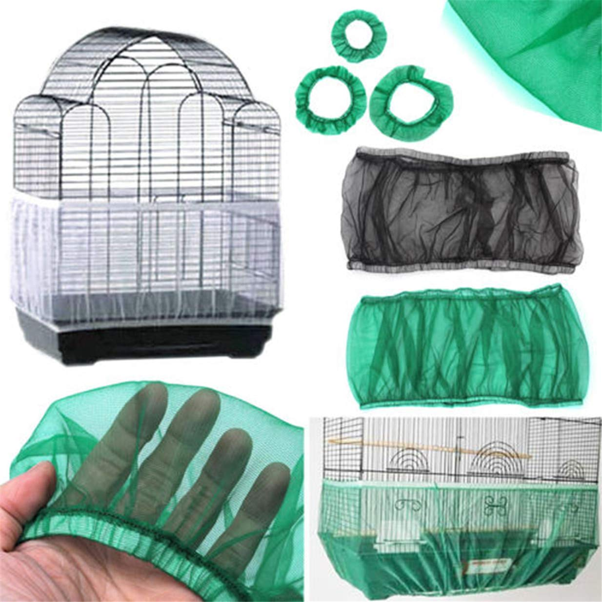 EJY Seed Catcher Bird Cage Tidy Bird Cage Mesh Net Cover Skirt Guard M, Black