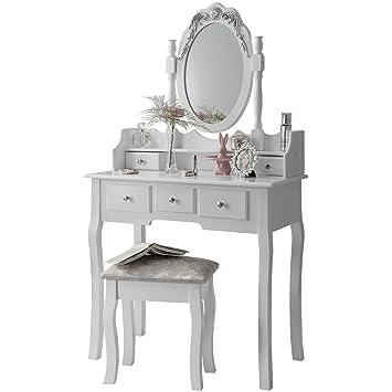 CAPRI AGTC0010 Chaise pour coiffeuse Blanc &Meuble Miroir de chambre ...