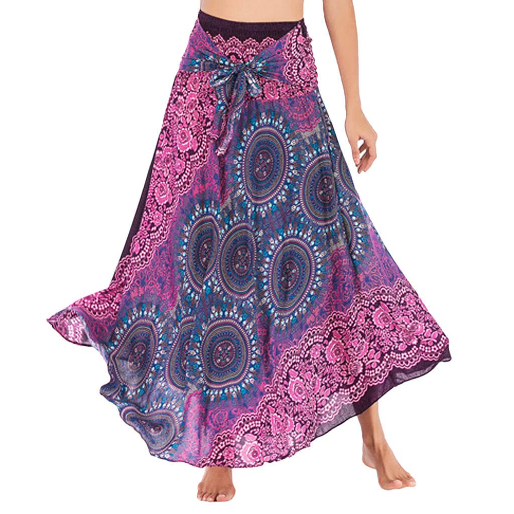 Tantisy ♣↭♣ Women's High-Waisted Boho Asymmetrical Hem Tie up Long Maxi Print Wrap Skirt Ladies Flowy Chiffon Beach Skirts Hot Pink