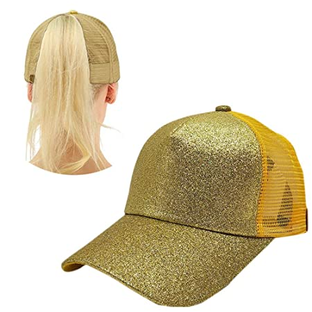 701f00cab ... wholesale aolvo yellow ponytail baseball hat personalized high messy  bun baseball cap adjustable flatbill snapback hat