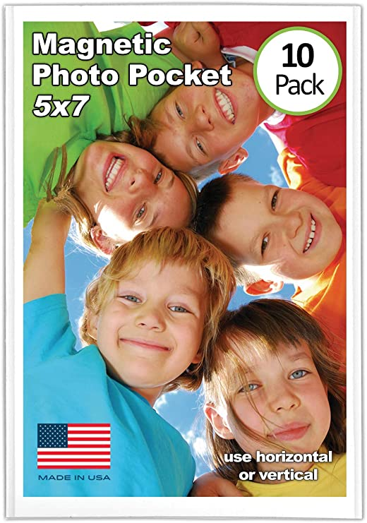 Magtech Magnetic Photo Pocket Picture Frame 10 Pack Holds 5 x 7 Inches Photos White 15710