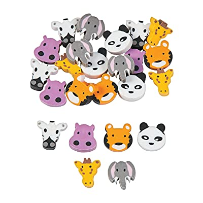 Fun Express - Mini Zoo Animals Erasers - Stationery - Pencil Accessories - Erasers - 144 Pieces: Toys & Games
