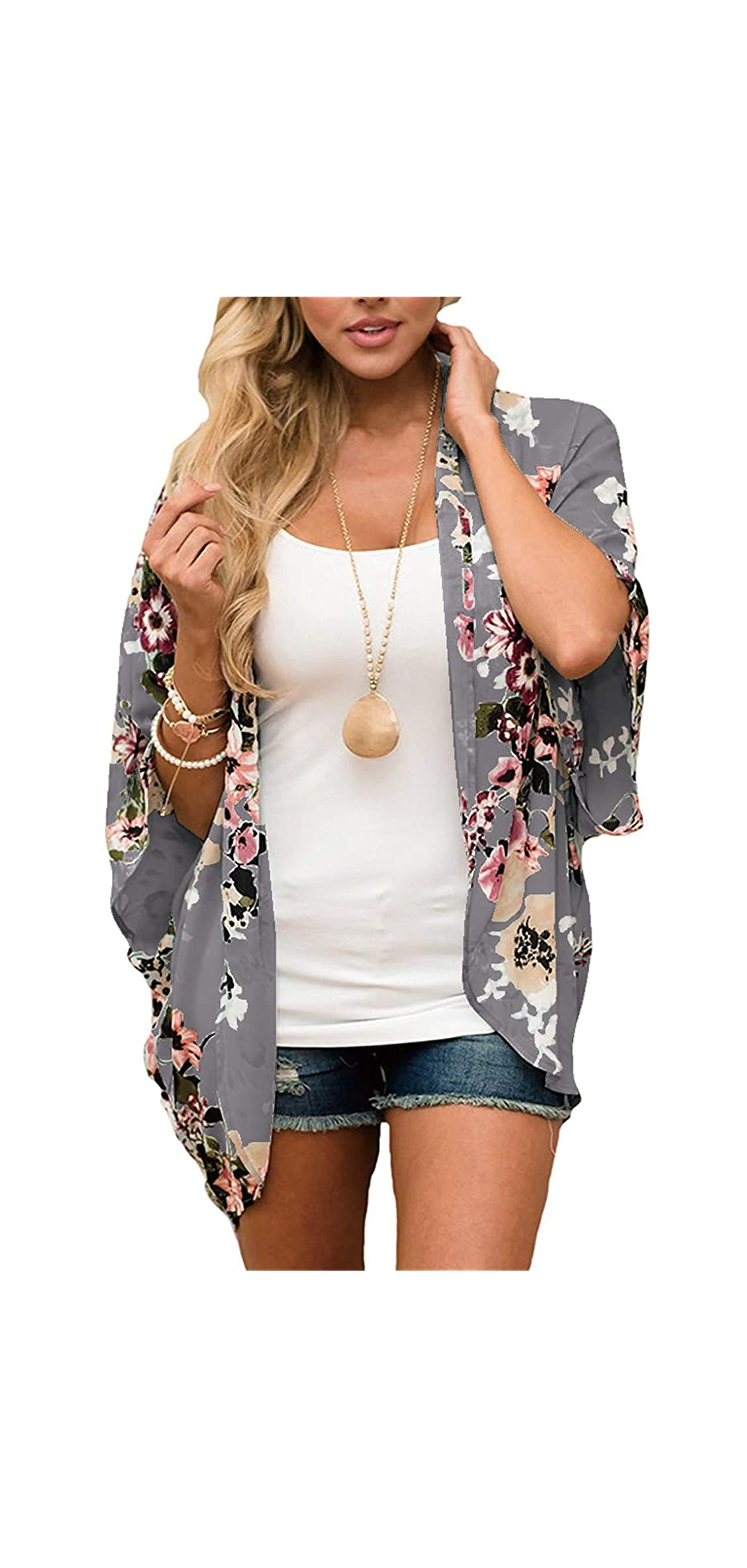 Women Floral Kimono Cardigan Chiffon Casual Loose Open Front Up