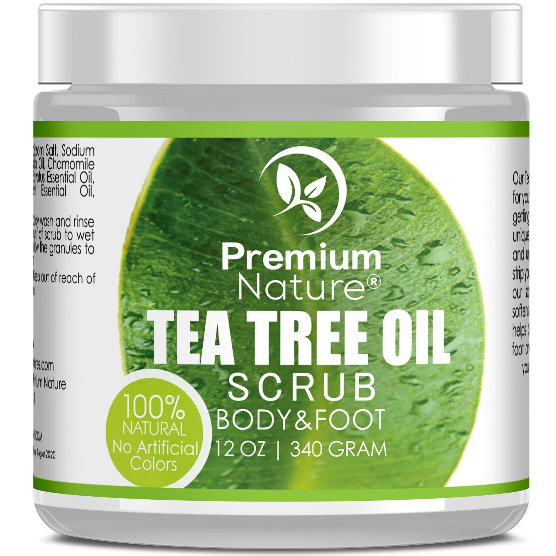 Antifungal Tea Tree Body & Foot Scrub - 12 oz 100% Natural Antibacterial Exfoliator - Best Fungal Treatment Prevents Acne Dandruff Calluses Athlete's Foot Jock Itch - Premium Nature