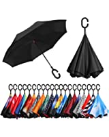 BAGAIL Double Layer Inverted Umbrellas Reverse Folding Umbrella Windproof UV Protection Big Straight Umbrella Car Rain Outdoor C-Shaped Handle