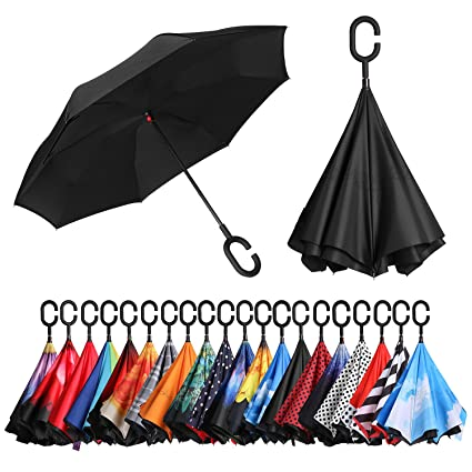 Home Purple Daisy Inverted Reverse Folding Umbrella For Double Layer Uv Proof Windproof Rain Protection C-hook Hands For Car Outdoor