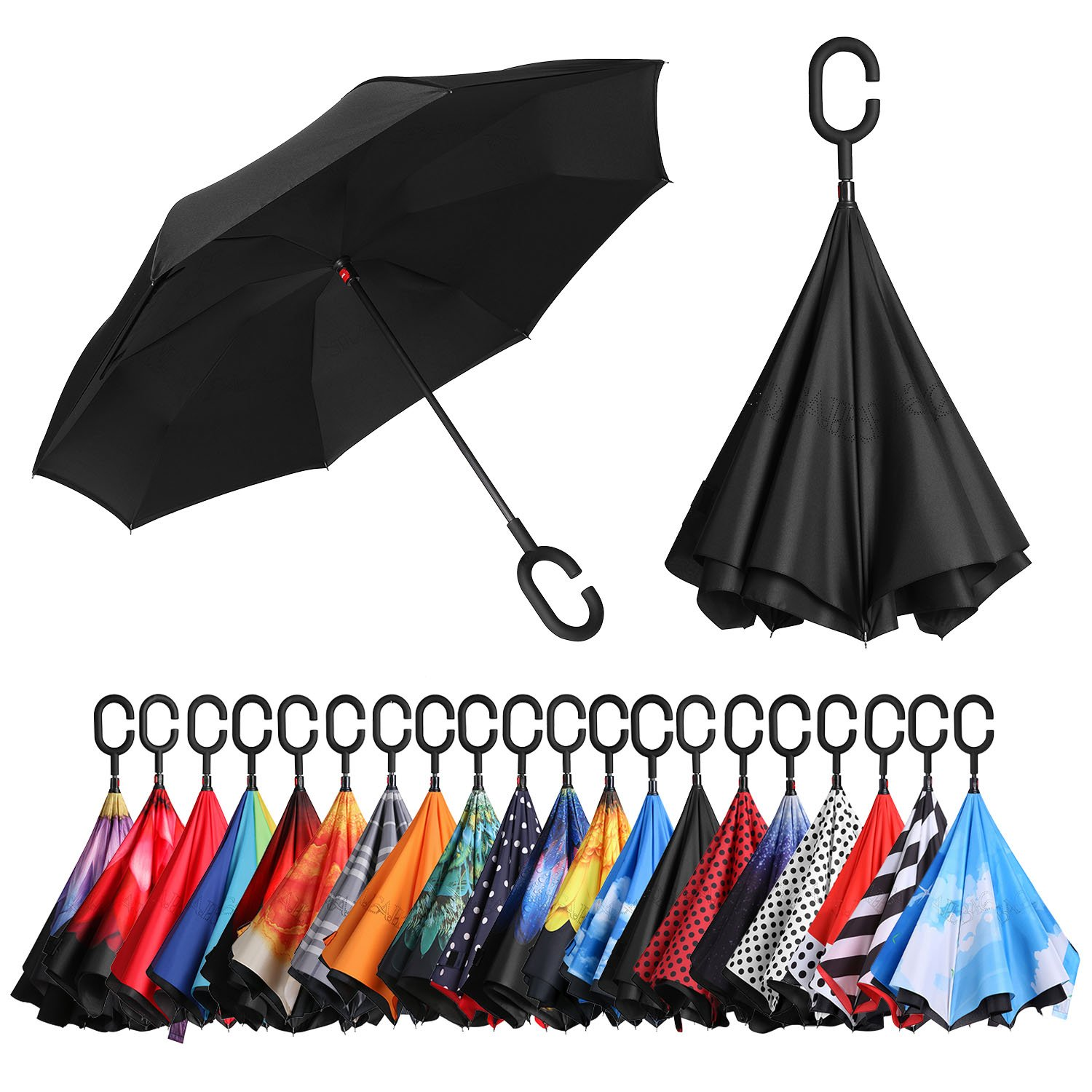 BAGAIL Double Layer Inverted Umbrellas Reverse Folding Umbrella Windproof UV Protection Big Straight Umbrella for Car Rain Outdoor with C-Shaped Handle Black