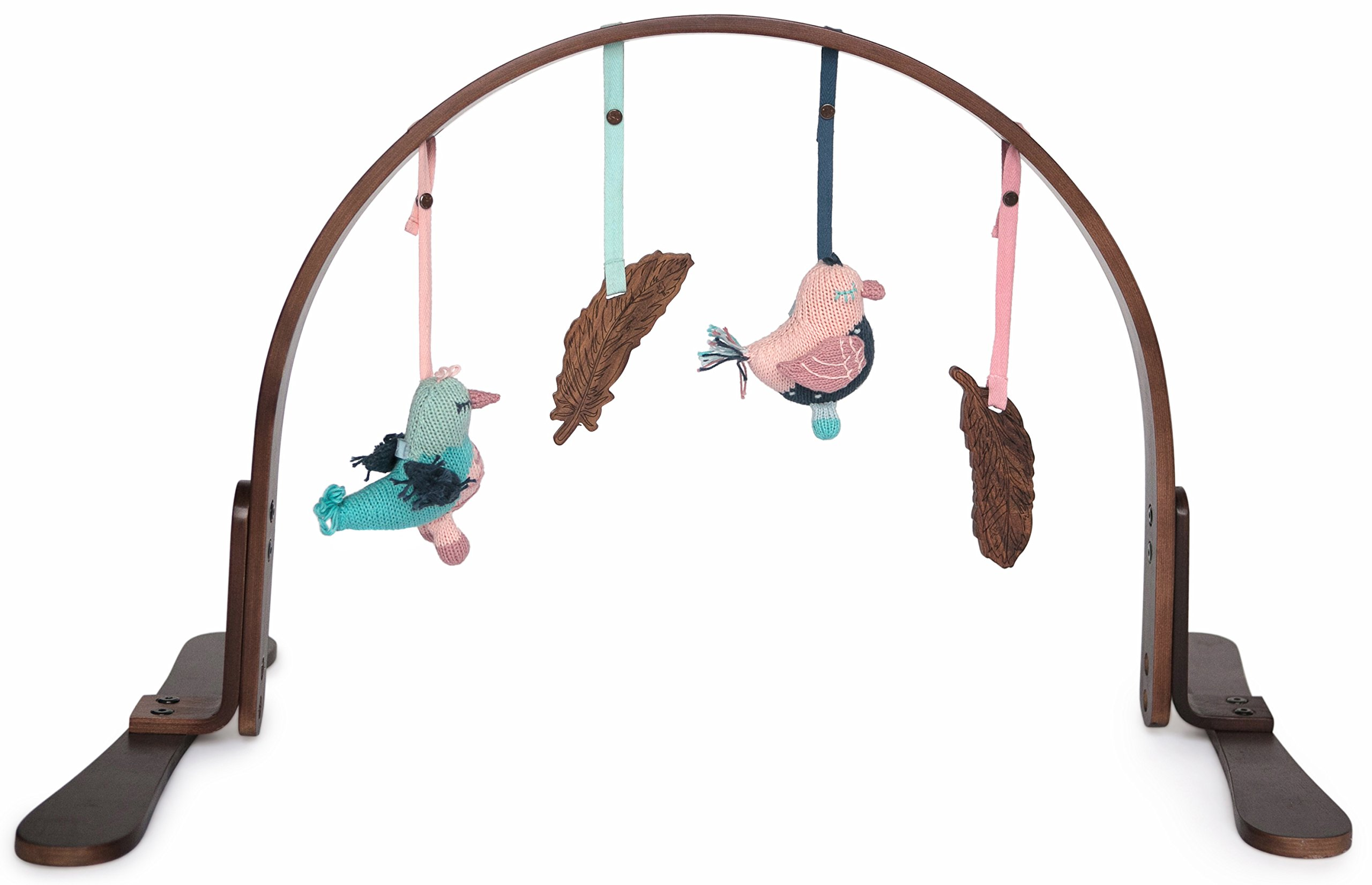 Finn + Emma Play Gym, Organic Cotton and Natural Wood with Hand-Knit Rattle and Teether Stroller Toys for Baby Boy or Girl – Feather - Dark