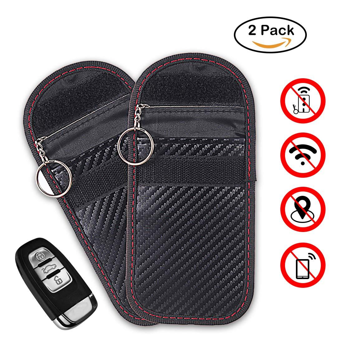 Car Key Signal Blocker Case,Faraday Key fob Protector, Antitheft Lock Devices,Car Key Protector WiFi/GSM/LTE/NFC/RF Blocker (Black) LEOKE LK-001