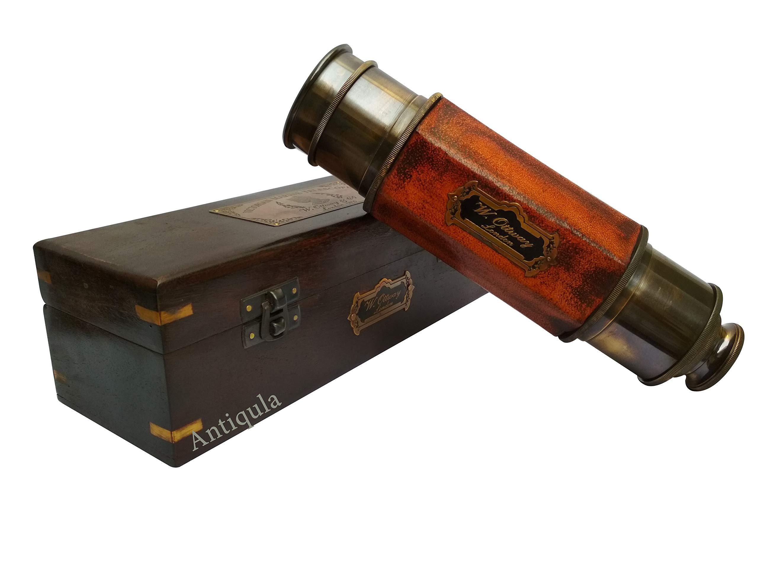 Antique Brass Hexagonal Spyglass Replica in Wooden Box & 25 inch Long - Brass Spy Glass Pirate Telescope in Wooden Box Antique Replica Vintage