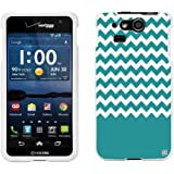 Protective Case For Kyocera Hydro Elite C6750 Slim Two Piece Snap On Case Hard Plastic Rubberize Feel Teal Chevron