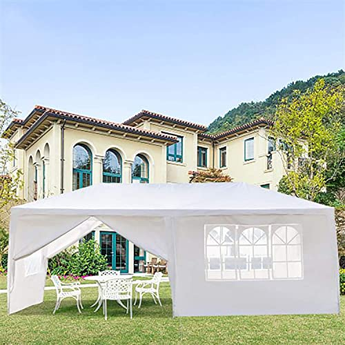 Hopekings Outdoor Gazebo Canopy Waterproof Wedding Party Tent with Removable Sidewalls for Beach BBQ Cater Events, White 10 x 20 , with 6 Sidewalls