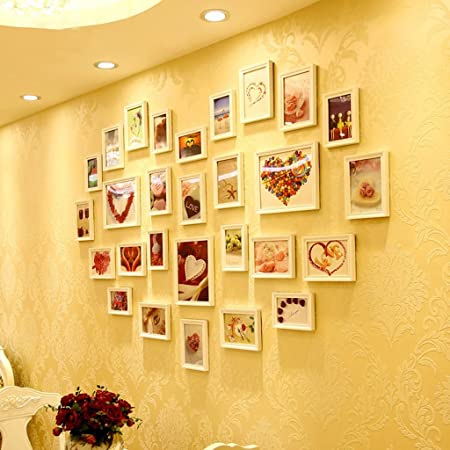 DSC Photo Wall Solid Wood Heart-shaped Photo Wall Decoration Large ...