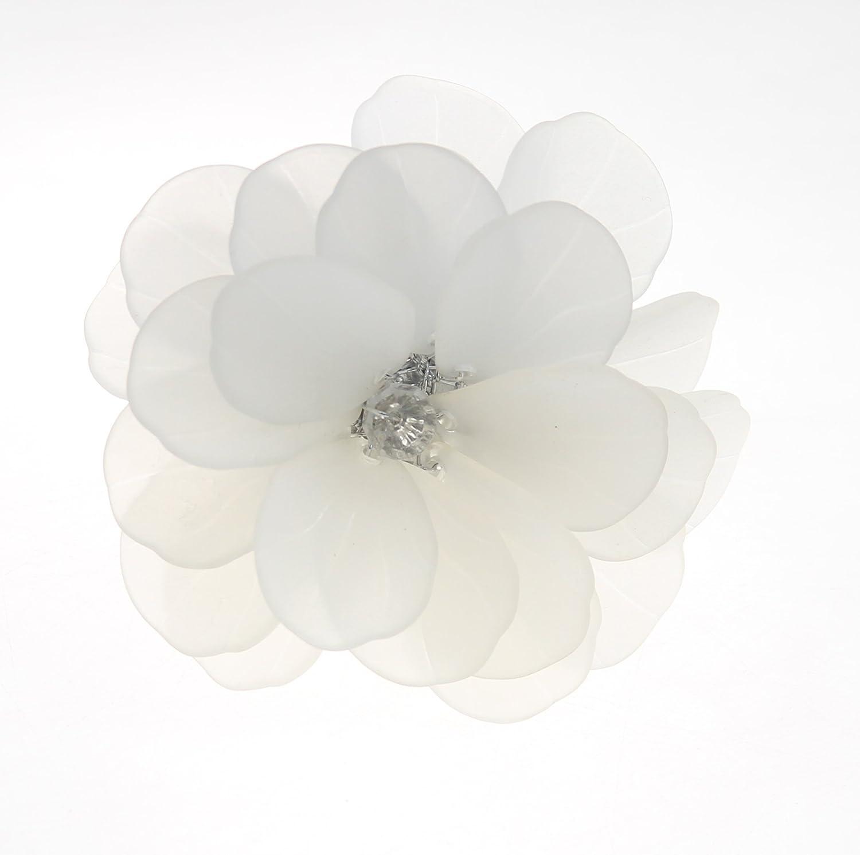 qn18012201ホワイトフラワークリスタルビーズナプキンリング、結婚式ナプキンホルダー、12個セット   B0798KTDQ9