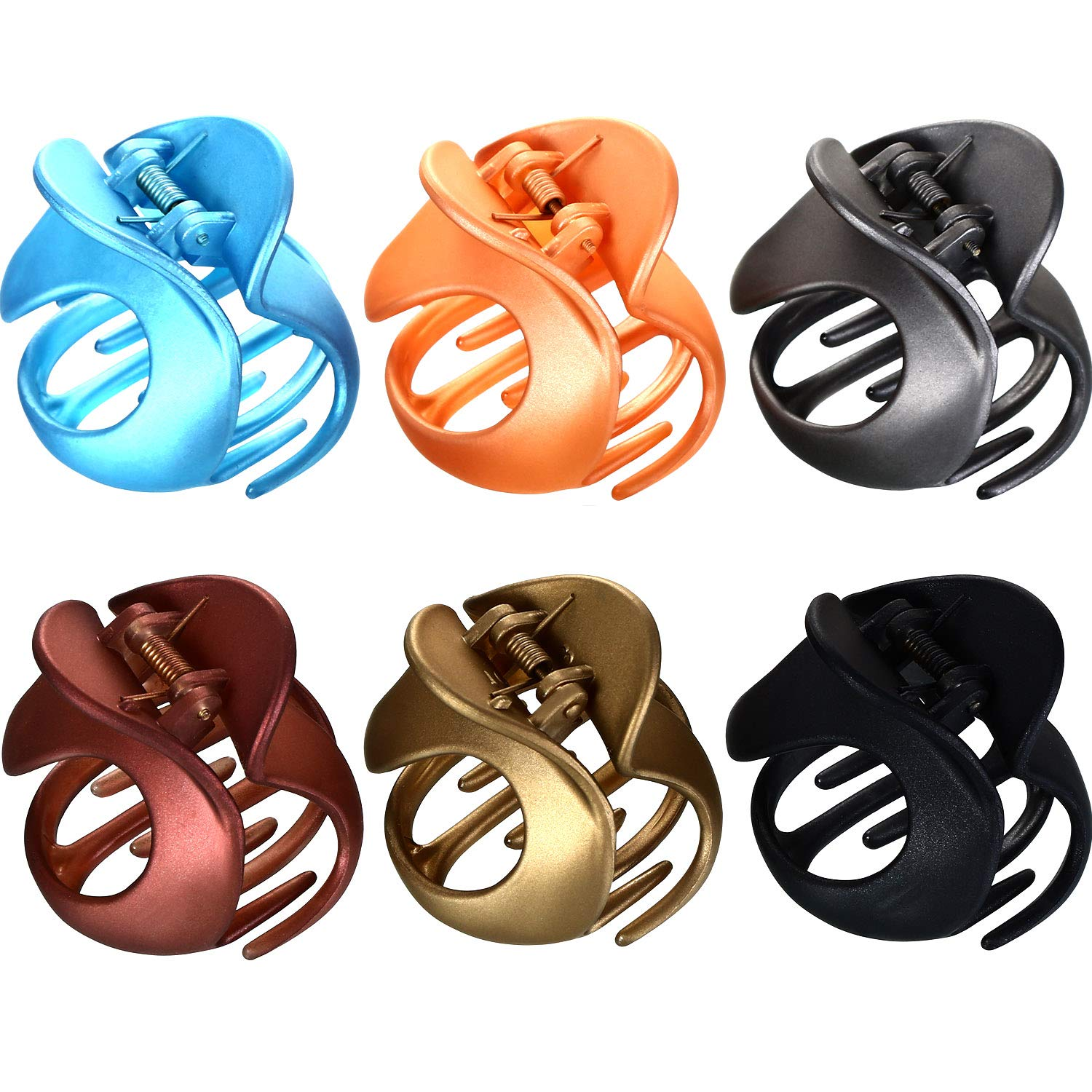 6 Pieces Non Slip Hair Clamps Plastic Jaw Clips Vintage Irregular Claw Clips Simple Hair Accessories for Women Girls, 6 Colors Tatuo