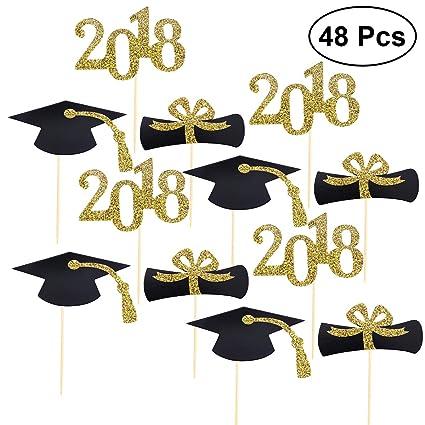 a73c572cb4342 BESTONZON 48pcs Graduation Cupcake Toppers 2018 Graduation Party  Decorations Cake Topper Picks Toothpick Toppers