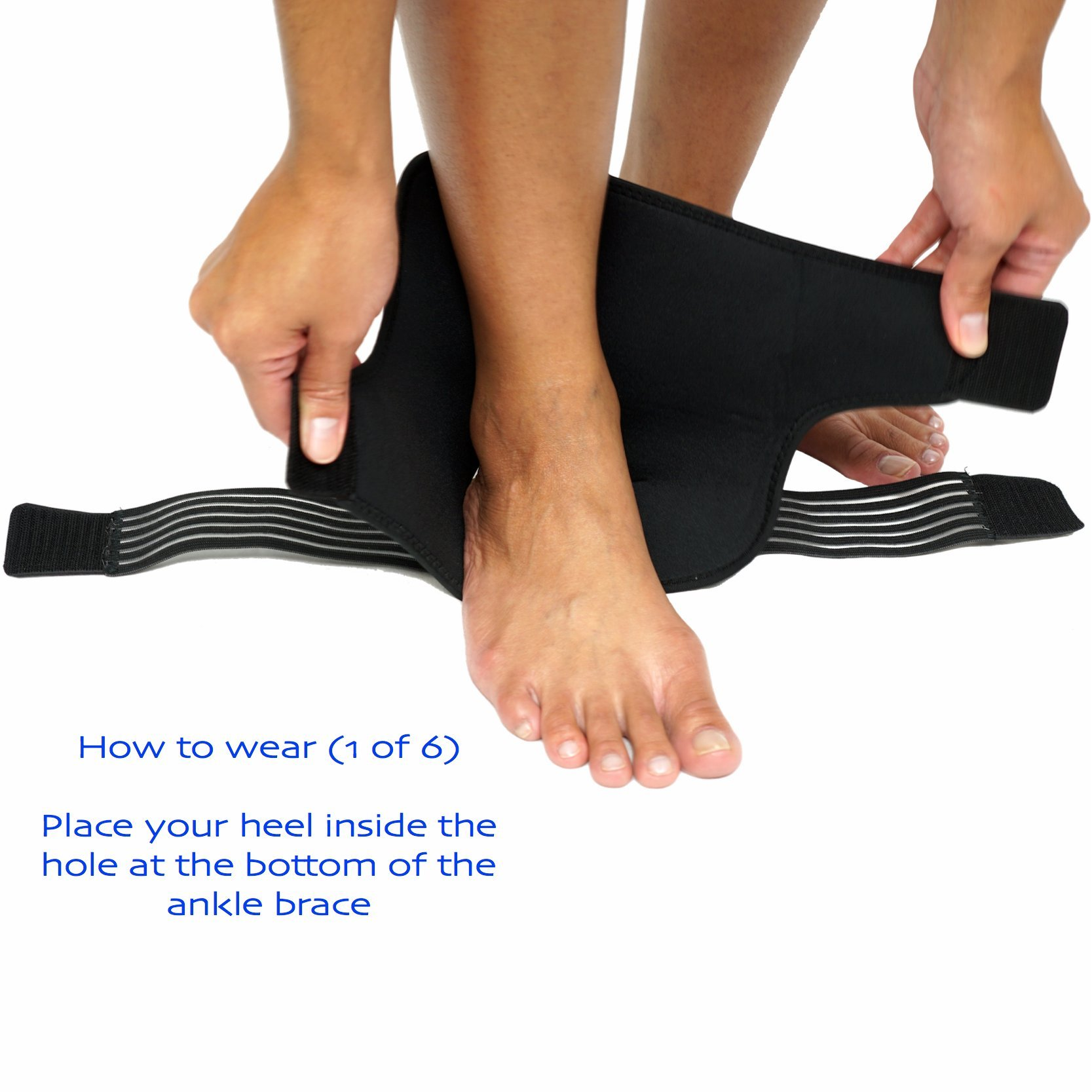Ankle Brace (PAIR) with Bonus Straps, for Ankle Support, Plantar Fasciitis, or Swollen Ankles, One Size Fits Most, By ZSX SPORT (Foot Size - Reg) by ZSX (Image #3)