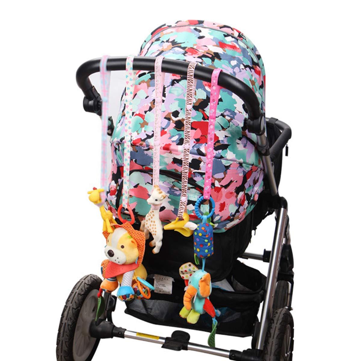 motivo casuale confezione da 10 cinghie regolabili universali per passeggino Cinghia porta giocattoli per bambini cinghia di sicurezza per ciuccio e portabicchieri