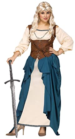 b30a607cd40 Amazon.com  Adult Viking Queen Renaissance Wench Medieval Costume Plus Size   Clothing