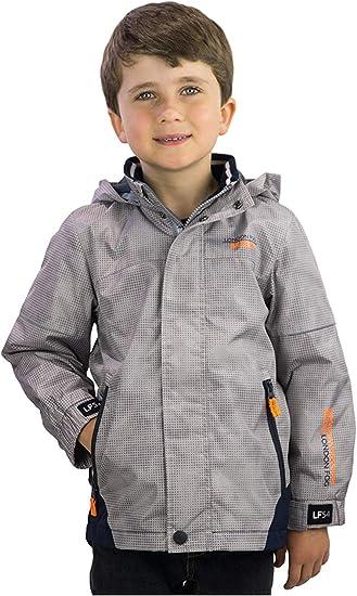 Grey London Fog Boys Reflective Fleece Hooded Spring Jacket