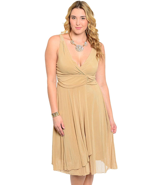 Abendkleid / Partykleid mit weit schwingendem Rock, hohe Taille, knielang - beige