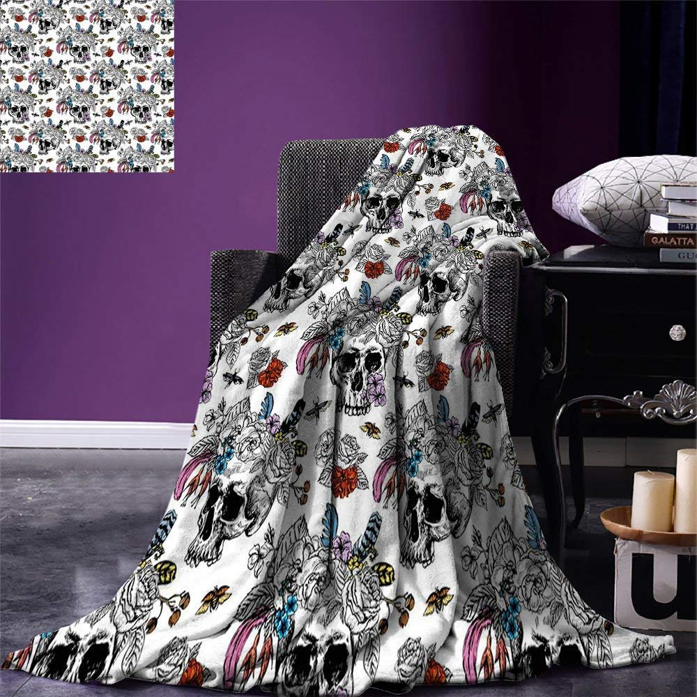 color04 80 x60  SINOVAL Gothic Warm Microfiber All Season Blanket Fantasy Scene with Old Fashioned Wooden Torch and Skull Candlesticks in Dark Spooky Room Print Artwork Image£¬Multicolor, Brown,Fashion Blanket