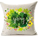 Spring Flowers Home Decor Cotton Linen Pillow Covers 18 x 18,MFGNEH Spring Decor Throw Pillow Case Cushion Covers