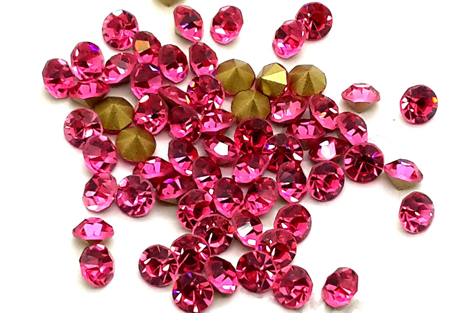 Foiled-back Crystals, EIMASS® Point-back Cut Diamond Chatons, Glass Crystals, Glass Rhinestones, Glass Gems, Pack of 100 Diamante (ss10 (2.8mm), Rose Hot Pink)