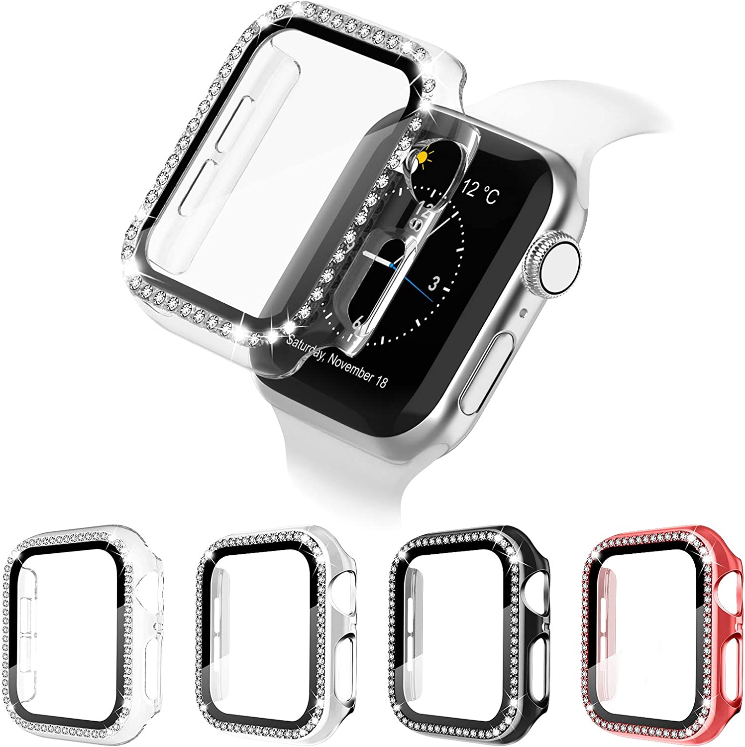 4 Pack Apple Watch Case with HD Tempered Glass Screen Protector for iWatch Series 6/5/4/3/2/1/SE, Full Cover Bling Diamond Crystal Rhinestone Protective Case (Black/Silver/Red/Clear, 38mm)