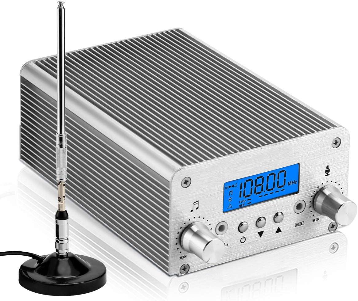 15W PLL FM Transmitter Radio Stereo Bluetooth Wireless Broadcast PC Controlled
