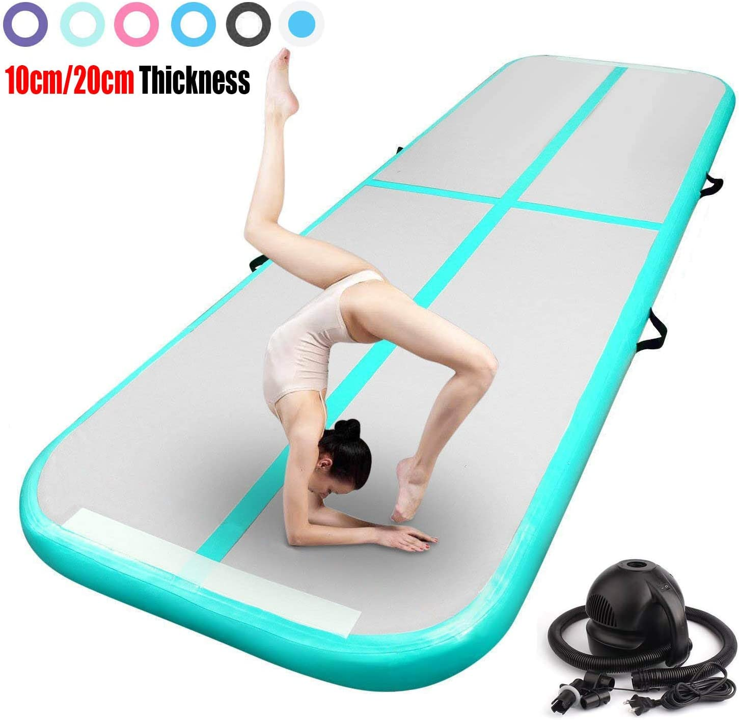FBSPORT 13ft/16ft/20ft/23ft/26ft Inflatable Gymnastics Air Track Tumbling Mat 4/8 inches Thickness Airtrack Mats for Home Use/Training/Cheerleading/Yoga/Water with Pump