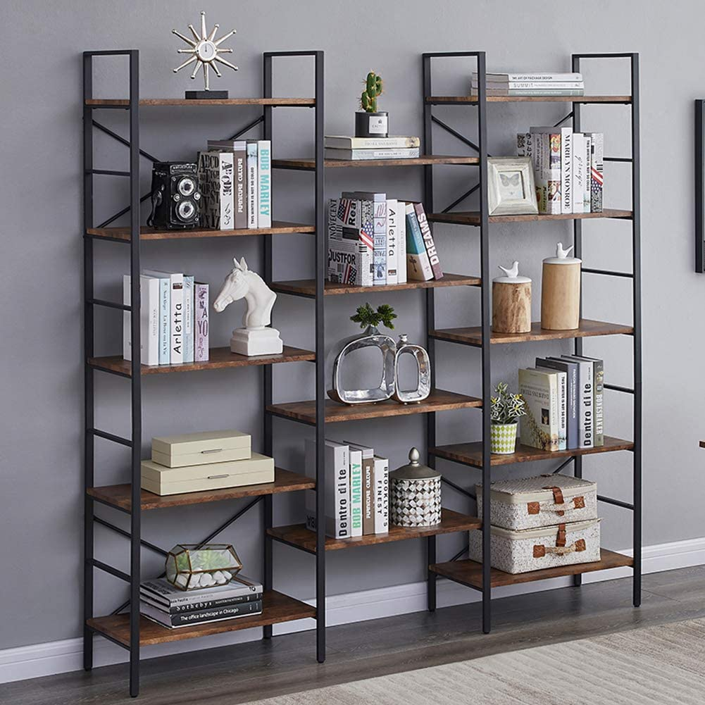 Superjare Triple Wide 5-Tier Bookshelf, Rustic Industrial Style Book Shelf, Wood and Metal Bookcase Furniture for Home & Office - Rustic Brown