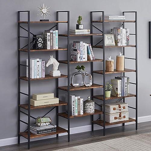 Superjare Triple Wide 5-Tier Bookshelf