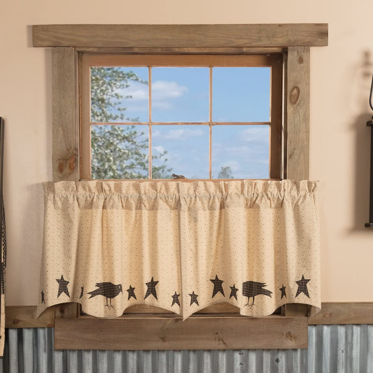 VHC Brands Primitive-Kitchen Curtains Prim Grove Crow-Rod Pocket Cotton Appliqued Star 24×36 Tier Pair, Dark Creme Tan