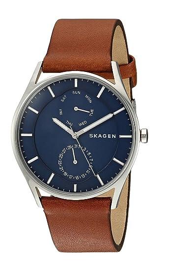 Skagen Reloj Multiesfera para Hombre de Cuarzo con Correa en Cuero SKW6449: Amazon.es: Relojes