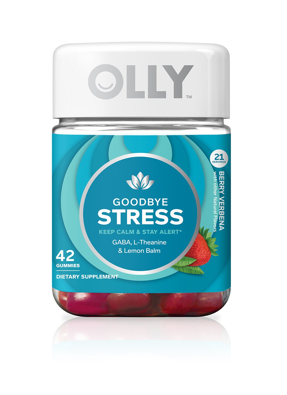 OLLY Goodbye Stress Gummy Supplement, with GABA, L-THEANINE and Lemon Balm; Berry Verbena; 42 count, 21 day supply (packaging may vary)