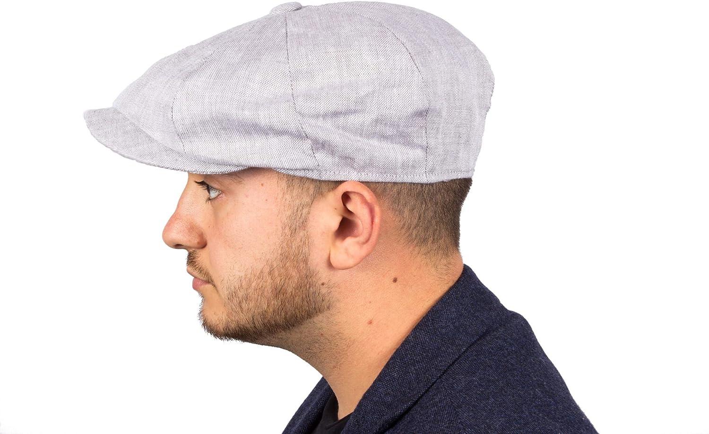 Mens Irish Linen Alfie 8 Panel Baker Boy Flat Cap Lightweight /& Breathable Summer Sun Hat