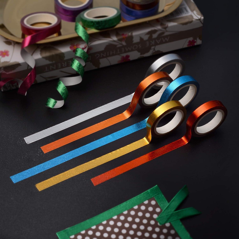 30 Rolls Washi Tape,Multi-Colored /& Gold Metallic Washi Masking Tape 8mm x 4m Rainbow Paper Tape for DIY Crafts Mix