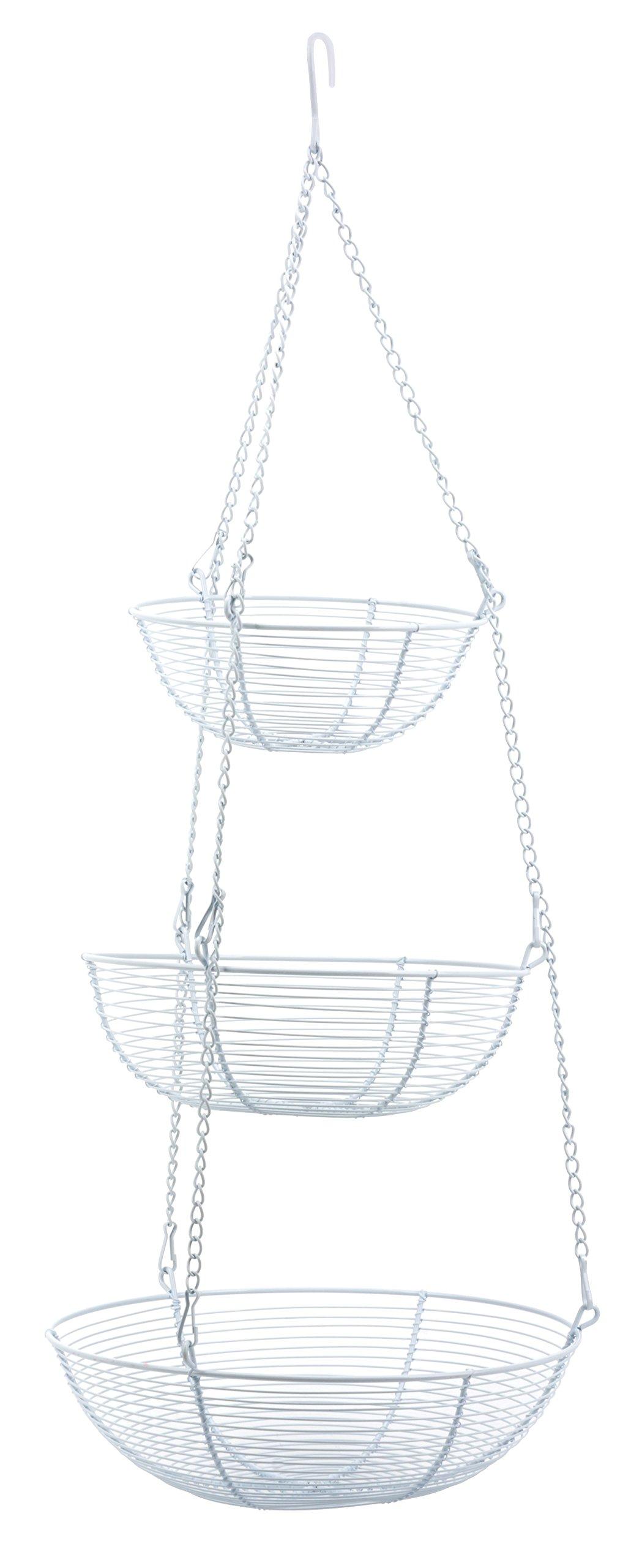 RSVP 3-Tier Hanging Wire Basket, White