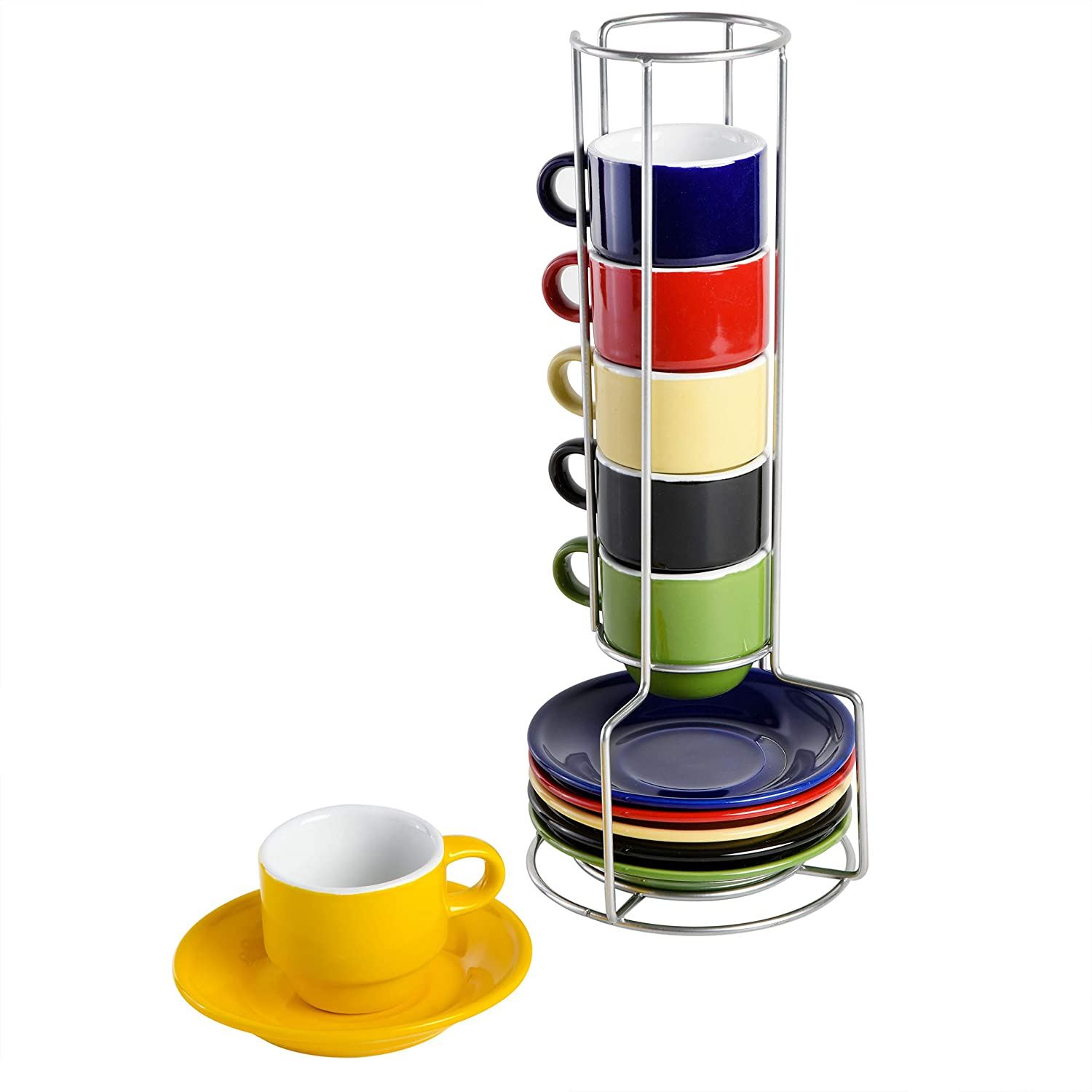 Gibson Home Sensations Stackable Espresso Saucer Set, 13PC Cups Stand, Assorted