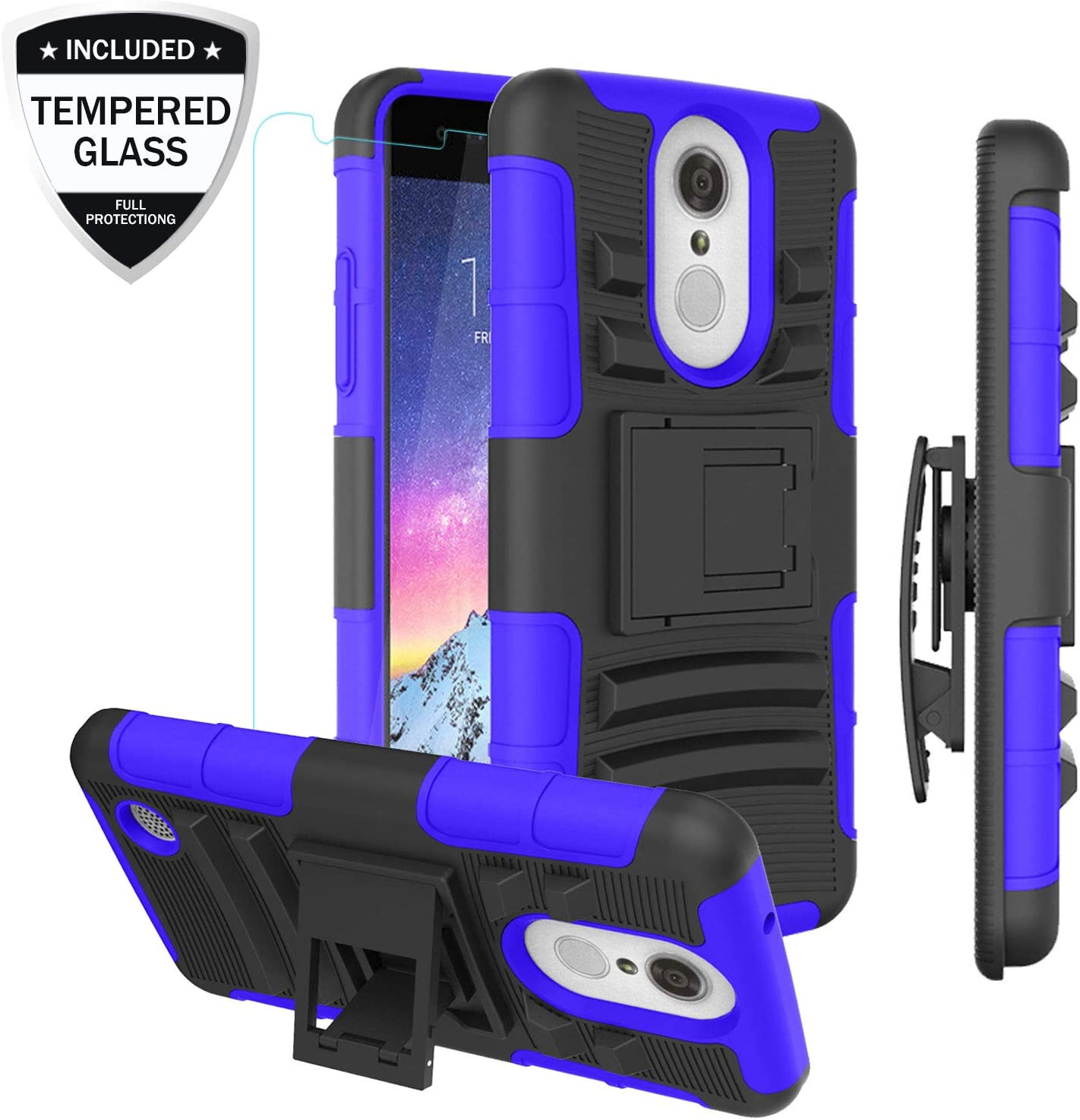 LG Aristo/LG Rebel 2 LTE/Rebel 3 LTE/Phoenix 3/Fortune/Risio 2/K8 2017 Phone Case w/Tempered Glass Screen Protector, Heavy Duty Shockproof Protective Case w/Kickstand Belt Clip for Men/Women/Boy, Blue