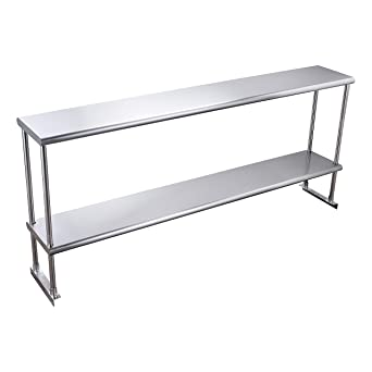 KPS Stainless Steel Double Overshelf for Prep Work Table 14 x 60 Top Mount NSF