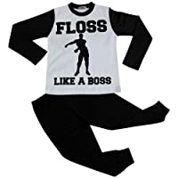 Kids Girls Boys Designer Floss Like A Boss Pyjamas Black Loungewear PJS 2-13 Yr