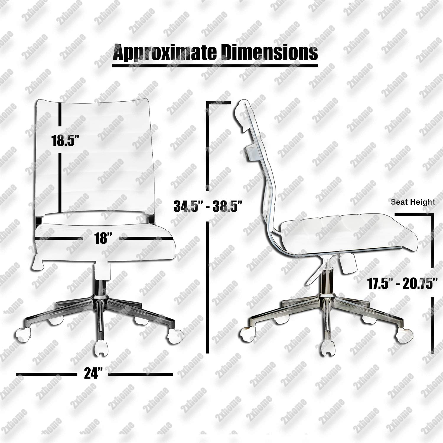 2xhome Modern Ergonomic Executive Mid Back PU Leather No Arms Rest Tilt Adjustable Height Wheels Cushion Lumbar Support Swivel Office Chair Conference Room Home Task Desk Armless Grey