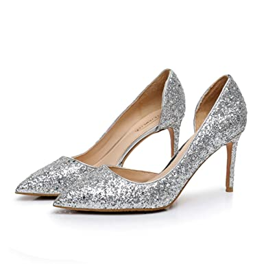 ... best place 82b15 483f6 Women high heels shoes sexy nightclub shallow  women39s glitter leather pumps silver ... ec4351758