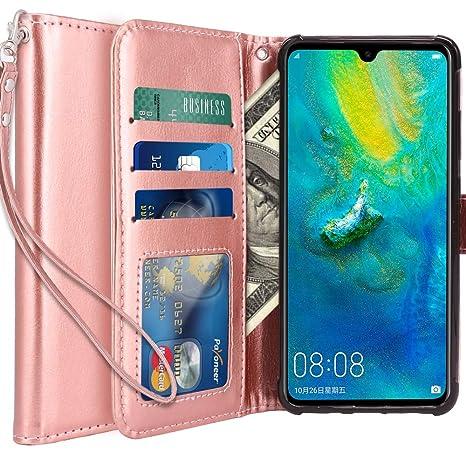 LK Funda para Huawei Mate 20, Carcasa Cubierta Cuero Billetera Case Flip Cover con Ranuras