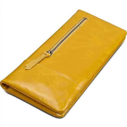 Yahoho Mujer Gran Capacidad Suave Cuero Genuino Billetera Cartera Pasaporte Porta Chequera Smartphone (Caja De Regalo) Amarillo: Amazon.es: Zapatos y ...