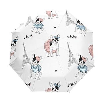 bennigiry Bulldog Francés París automático 3 plegable sombrilla sol protección Anti-UV paraguas para mujeres
