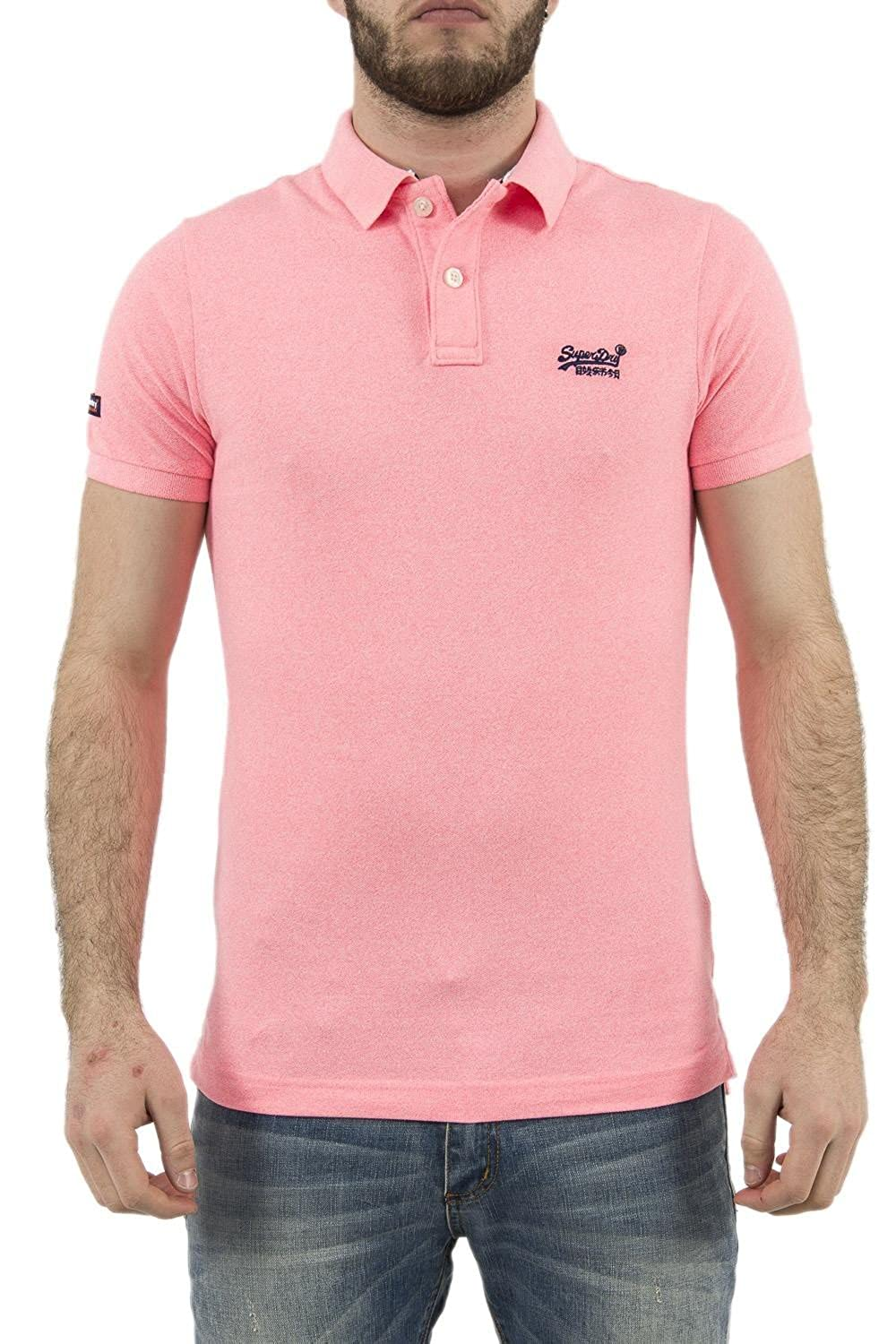 Superdry Classic New Fit, Polo para Hombre, Gris (Fluro Pink ...