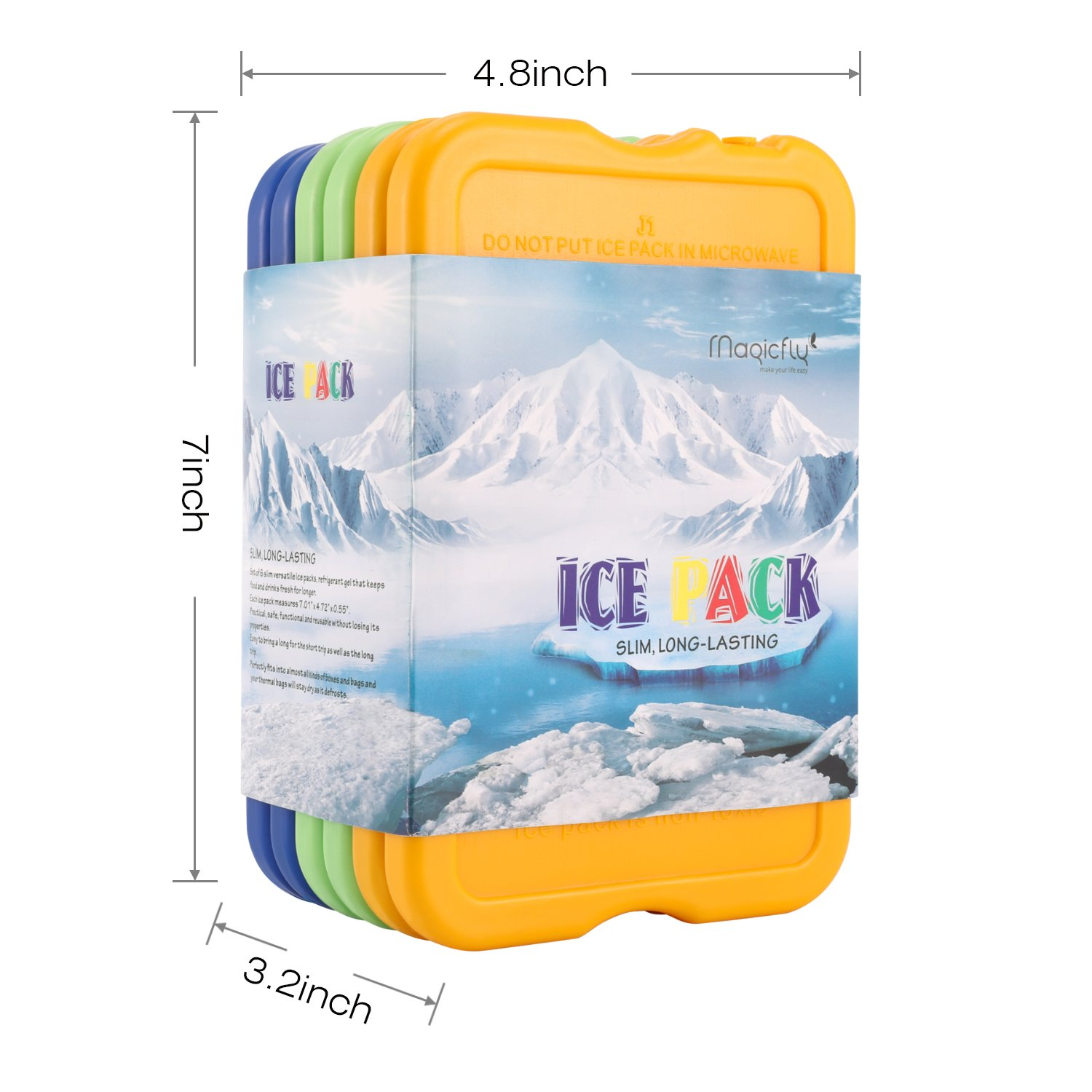 Set of 6 Reusable Lunch Freezer Pack for Coolers Magicfly Lunch Ice Pack Larger Size with 7x4.7x0.5 Inches Long Lasting Cool Cooler Slim Ice Pack for Lunch Box